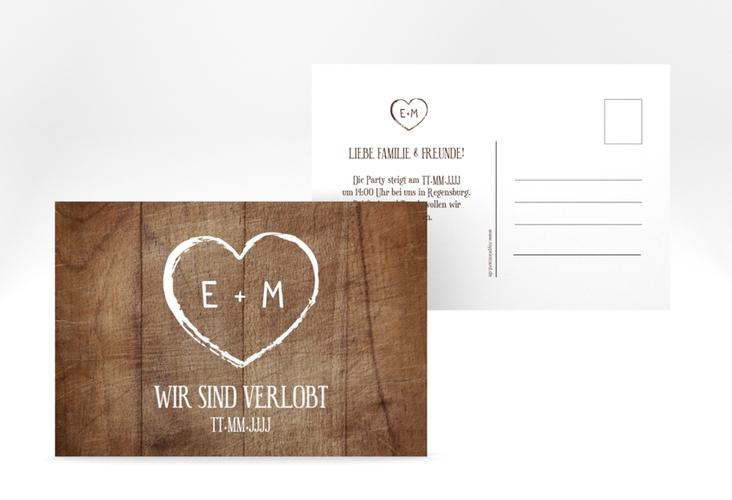 """Verlobungskarte Hochzeit """"Wood"""" A6 Postkarte braun"""