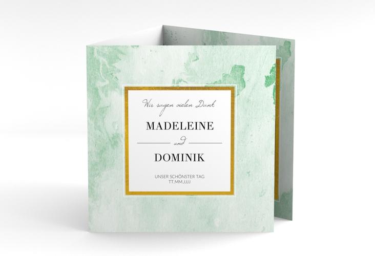 """Dankeskarte Hochzeit """"Marble"""" Quadr. Karte doppelt gruen"""