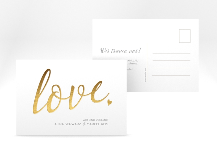 """Verlobungskarte Hochzeit """"Glam"""" A6 Postkarte weiss"""