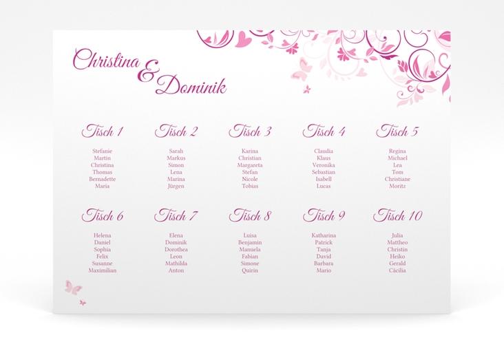 """Sitzplan Poster Hochzeit """"Lilly"""" 70 x 50 cm Poster pink"""