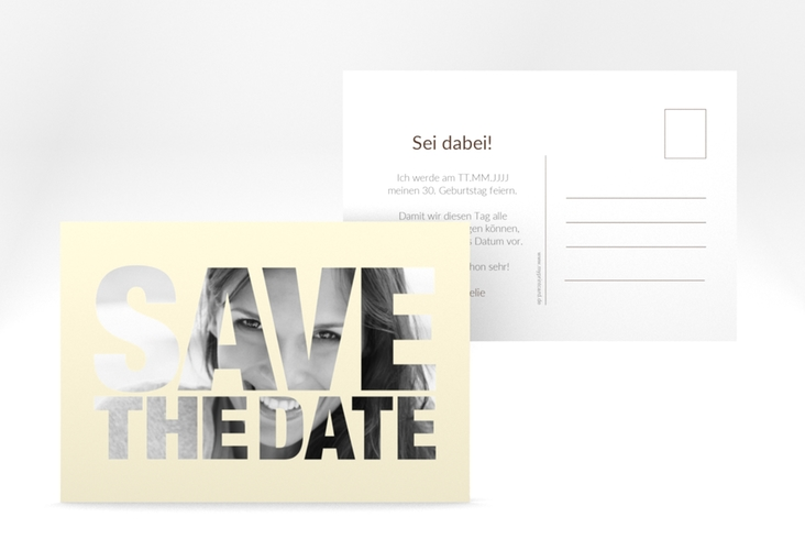 "Save the Date-Postkarte ""Numbers"" A6 Postkarte beige"
