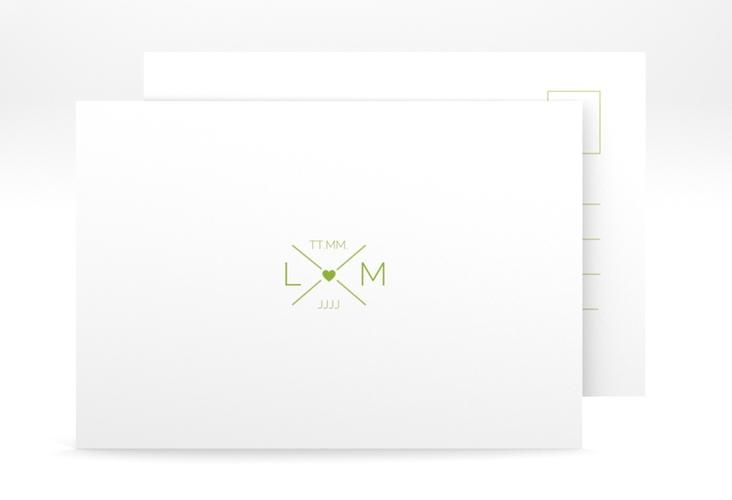 """Antwortkarte Hochzeit """"Initials"""" A6 Postkarte gruen"""