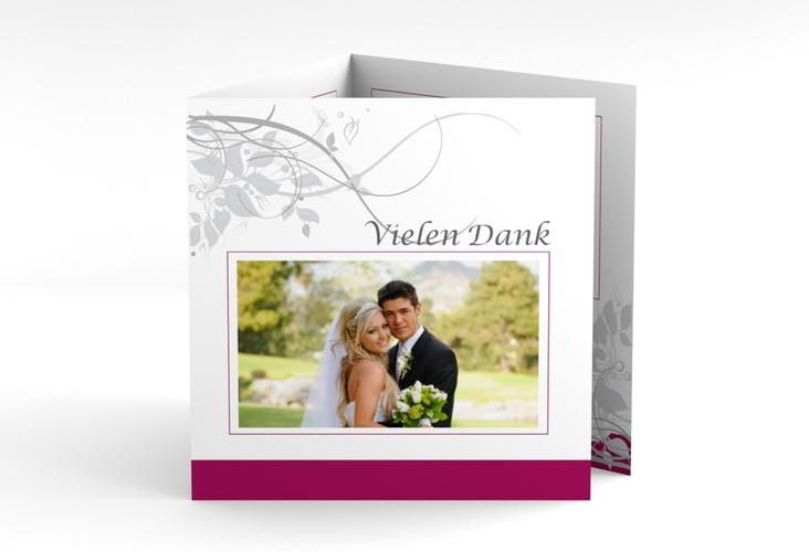 "Dankeskarte Hochzeit ""Florenz"" Quadr. Karte doppelt pink"