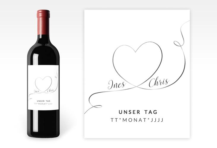 """Weinetikett zur Hochzeit """"Dolce"""" Etikett Weinflasche 4er Set weiss"""