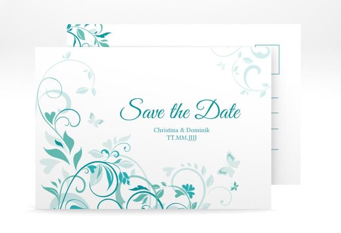 """Save the Date-Postkarte """"Lilly"""" A6 Postkarte tuerkis"""