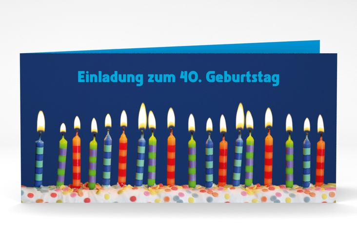 "Einladungskarte ""Candles"" DIN lang Klappkarte blau"