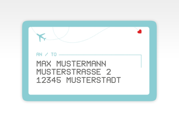 """Empfängeretikett Hochzeit """"Weddingpass"""" 63,5 x 38,1 mm blau"""