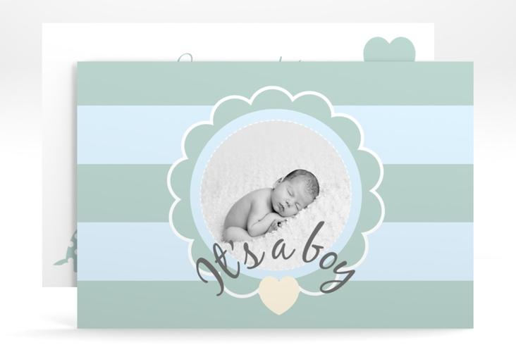 """Geburtskarte """"Schildi"""" A6 quer blau"""