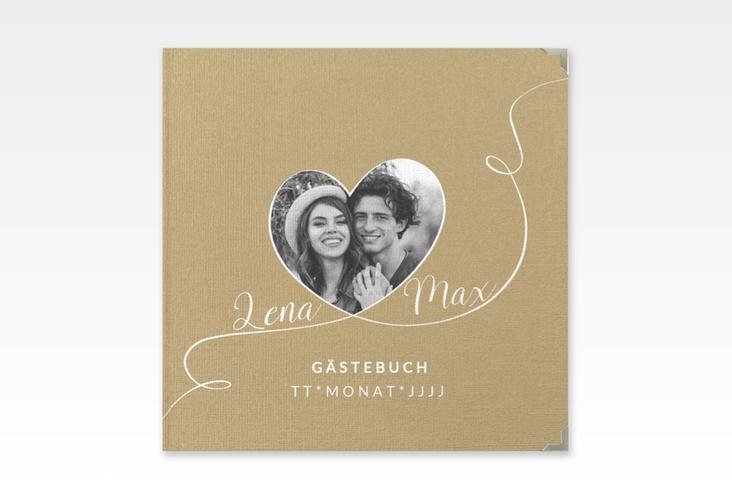 """Gästebuch Selection Hochzeit """"Herzensbund"""" Leinen-Hardcover weiss"""