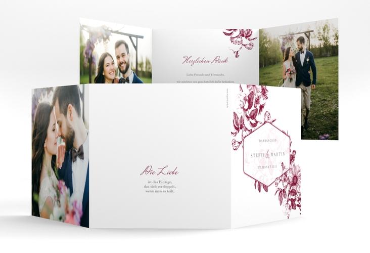 "Dankeskarte Hochzeit ""Magnificent"" Quadr. Karte doppelt rot"