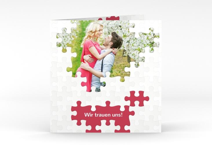 """Hochzeitseinladung """"Puzzle"""" Quadratische Klappkarte rot"""