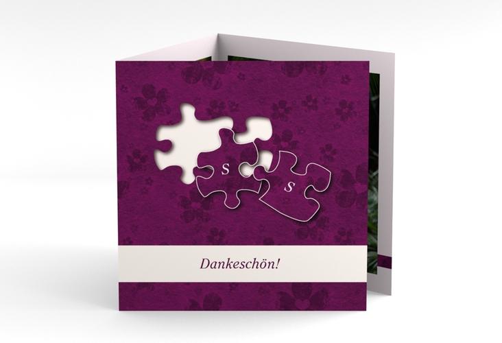 "Dankeskarte Hochzeit ""Ravensburg"" Quadr. Karte doppelt pink"