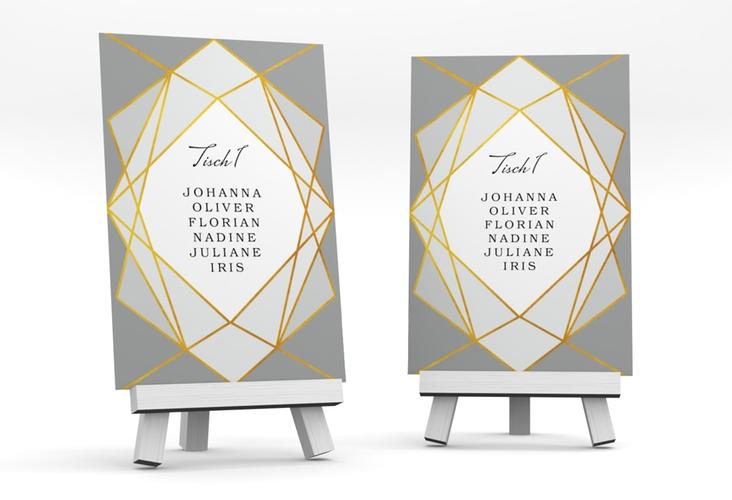 """Tischaufsteller Hochzeit """"Geometric"""" Tischaufsteller grau"""