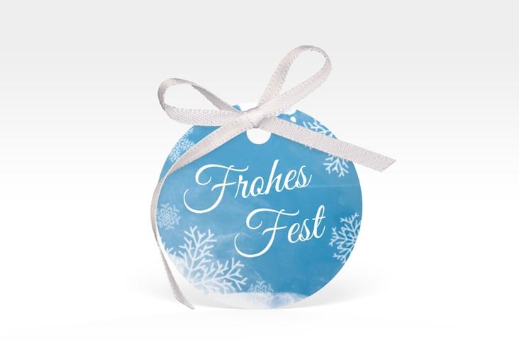 """Geschenkanhänger Weihnachten """"Eisblume"""" Geschenkanhänger, rund blau"""
