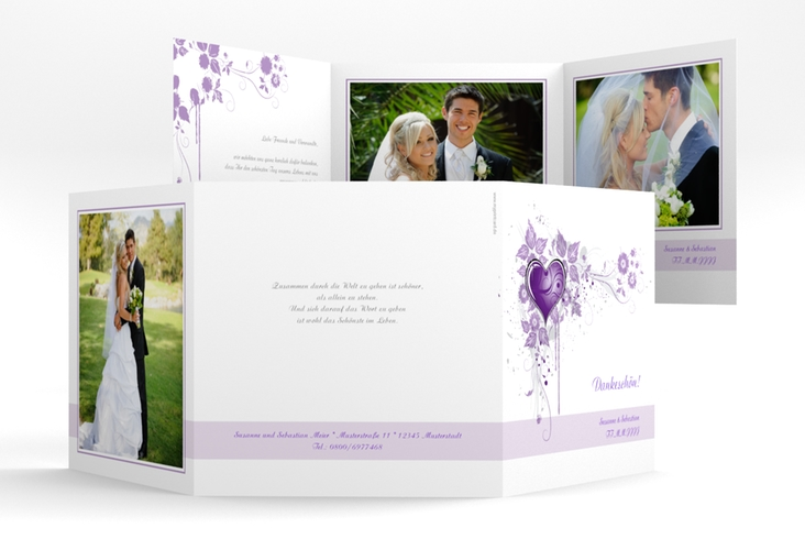 "Dankeskarte Hochzeit ""Triest"" Quadr. Karte doppelt"