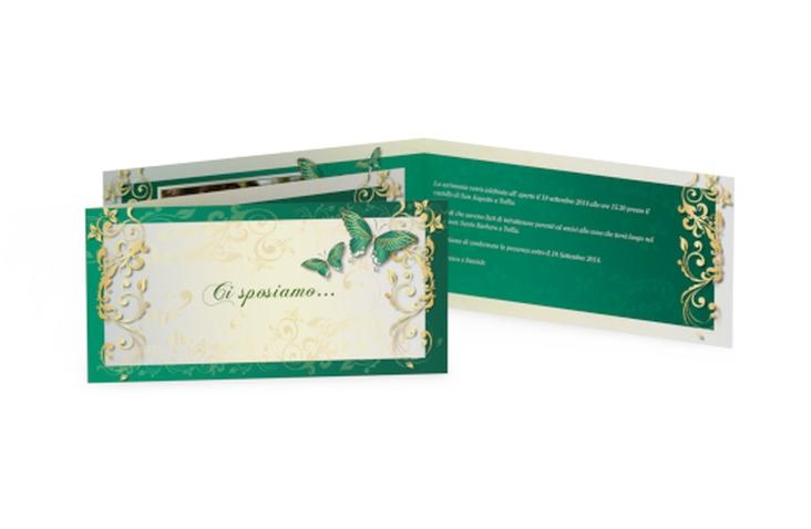 Inviti matrimonio collezione Tolosa DIN lang Klappkarte verde