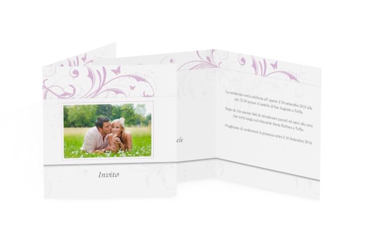 Inviti matrimonio collezione Palma Quadratische Klappkarte lila