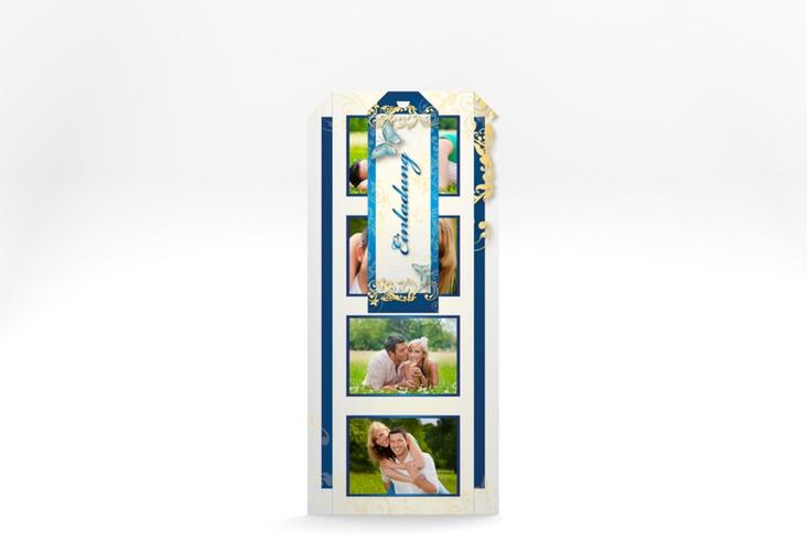 """Hochzeitseinladung """"Toulouse"""" Kartentrio blau"""