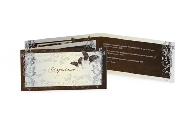 Inviti matrimonio collezione Tolosa DIN lang Klappkarte marrone