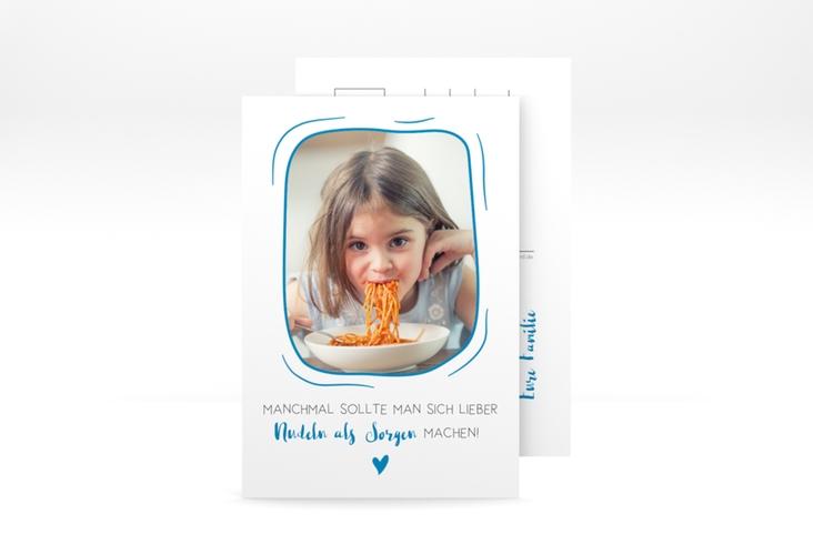 "Grußkarte ""Nudeln"" A6 Postkarte blau"