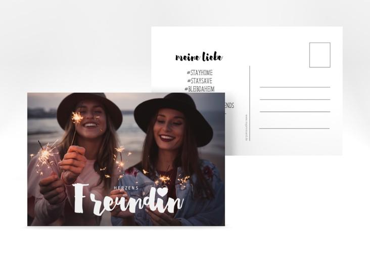 "Grußkarte ""Herzensfreundin"" A6 Postkarte weiss"