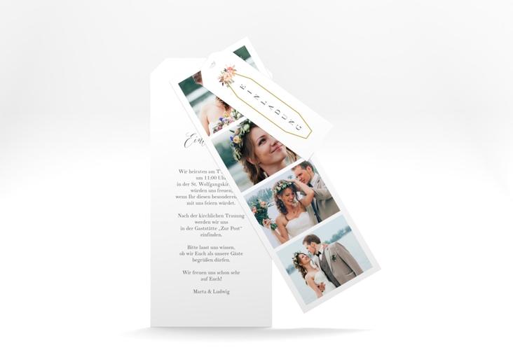 """Hochzeitseinladung """"Prachtvoll"""" Kartentrio weiss"""