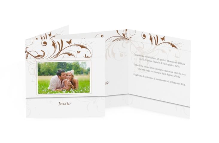 Inviti matrimonio collezione Palma Quadratische Klappkarte marrone