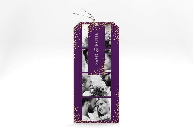 """Hochzeitseinladung """"Glitter"""" Kartentrio lila"""