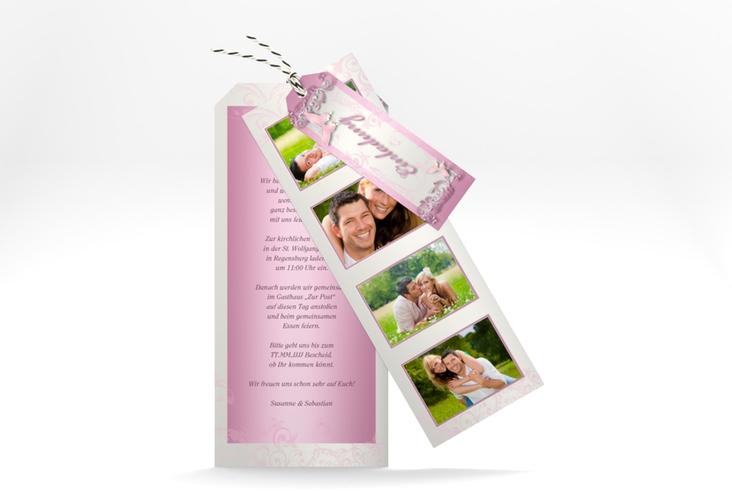 "Hochzeitseinladung ""Toulouse"" Kartentrio rosa"
