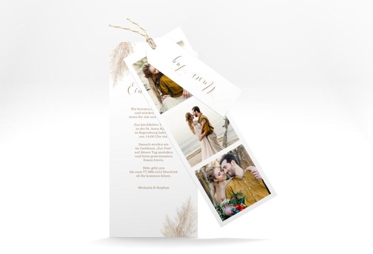 """Hochzeitseinladung """"Pampasgras"""" Kartentrio weiss"""