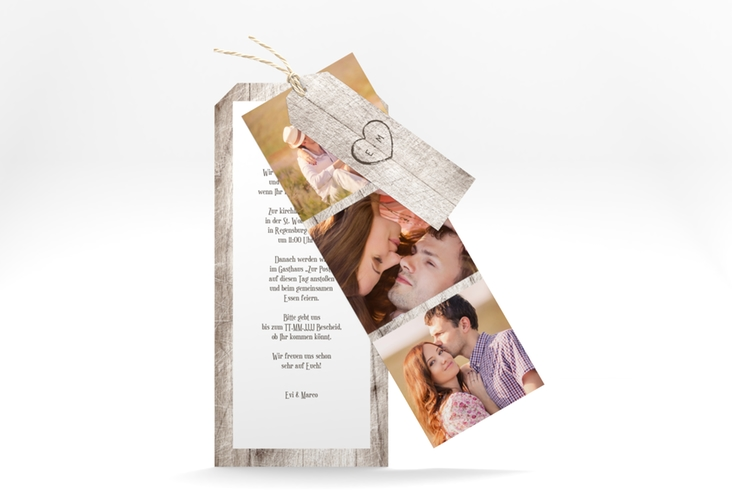 """Hochzeitseinladung """"Wood"""" Kartentrio weiss"""