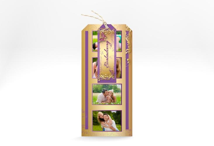 """Hochzeitseinladung """"Toulouse"""" Kartentrio lila"""