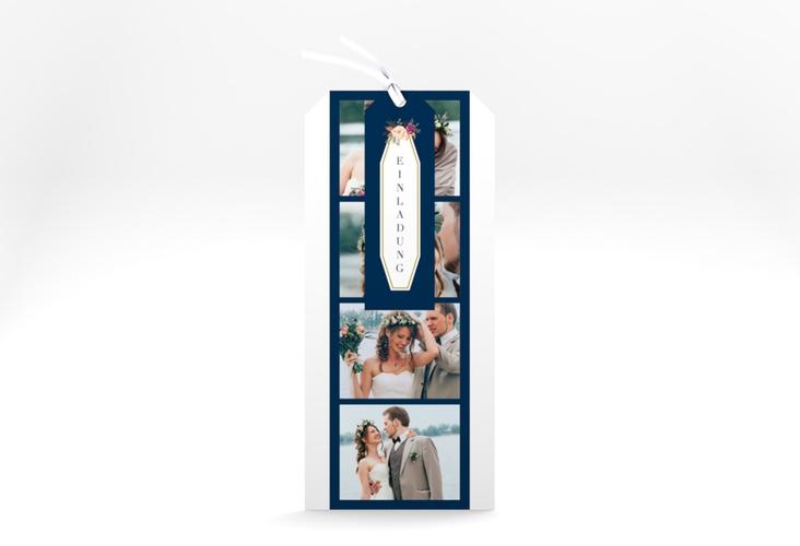 """Hochzeitseinladung """"Prachtvoll"""" Kartentrio blau"""