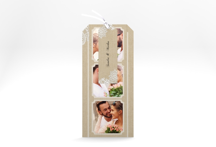 """Hochzeitseinladung """"Lace"""" Kartentrio beige"""