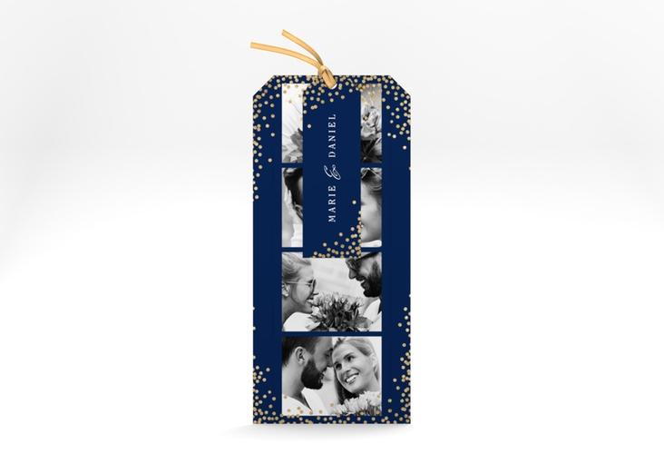 """Hochzeitseinladung """"Glitter"""" Kartentrio blau"""