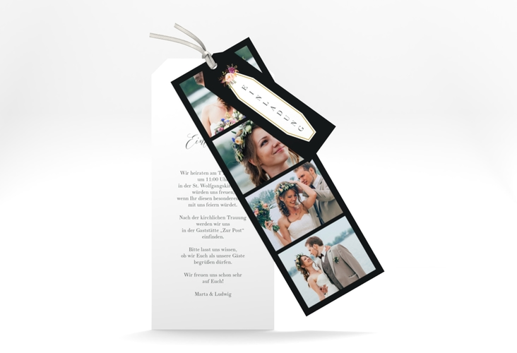 """Hochzeitseinladung """"Prachtvoll"""" Kartentrio schwarz"""