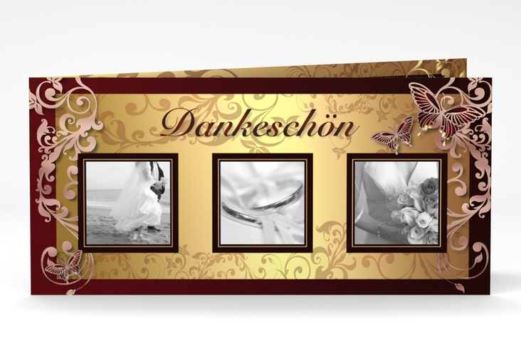 "Dankeskarte Hochzeit ""Toulouse"" DIN lang Klappkarte rot"