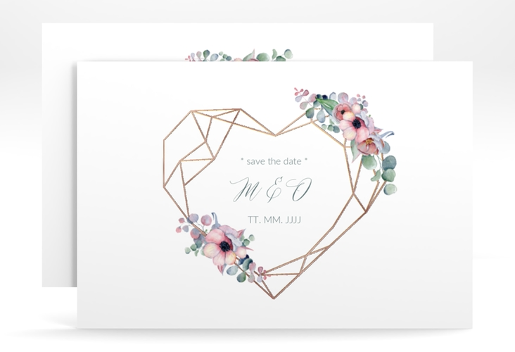 """Save the Date-Karte """"Herzgold"""" A6 quer"""