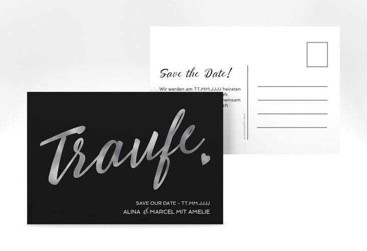 "Save the Date-Postkarte ""Traufe"" A6 Postkarte schwarz"