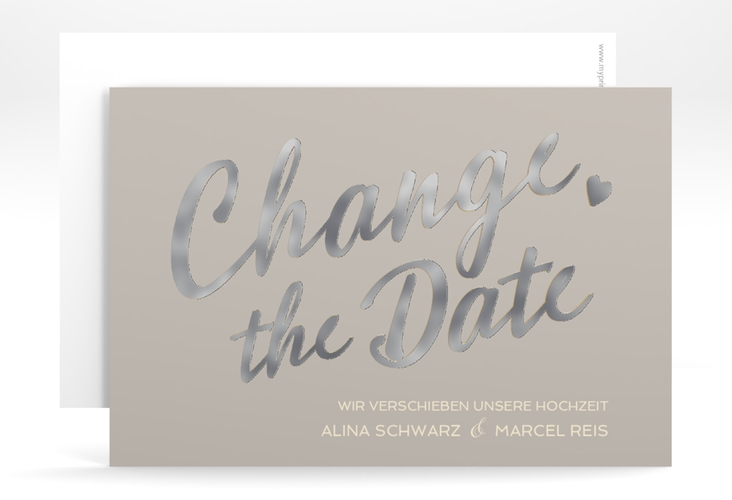 "Change the Date-Karte ""Glam"" A6 quer grau"