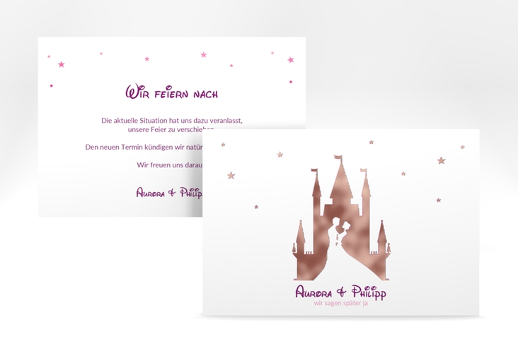 """Change the Date-Karte """"Castle"""" A6 quer pink"""