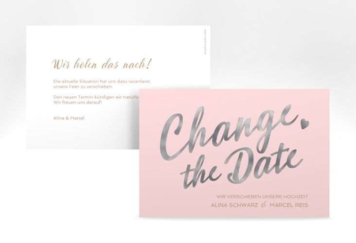 """Change the Date-Karte """"Glam"""" A6 quer rosa"""