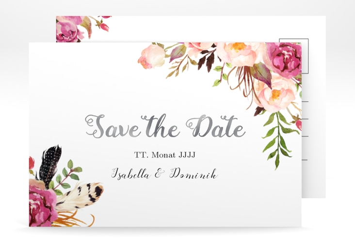 "Save the Date-Postkarte ""Flowers"" A6 Postkarte weiss"