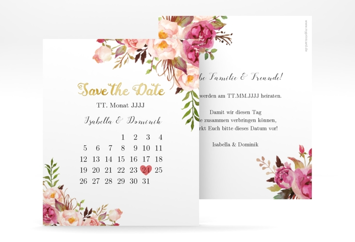 "Save the Date-Kalenderblatt ""Flowers"" Kalenderblatt-Karte weiss"