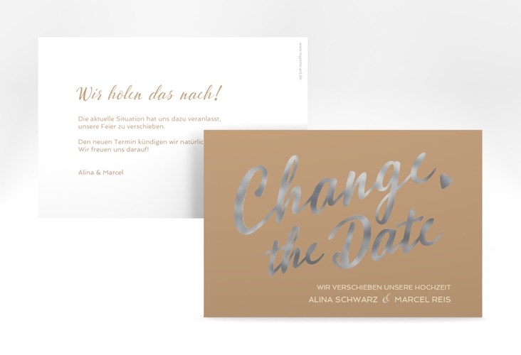 """Change the Date-Karte """"Glam"""" A6 quer beige"""