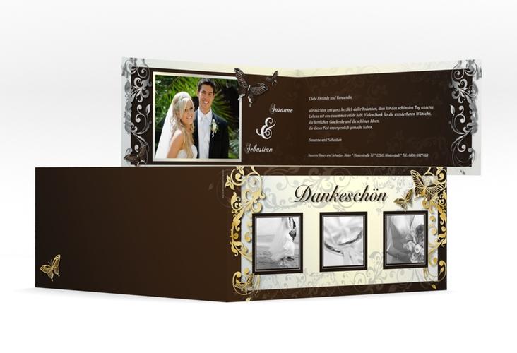 "Dankeskarte Hochzeit ""Toulouse"" DIN lang Klappkarte braun"