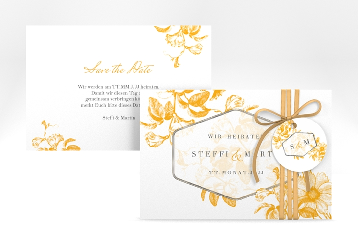 """Save the Date-Karte """"Magnificent"""" A6 quer gelb"""