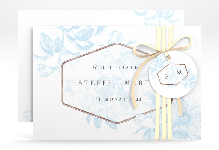 """Save the Date-Karte """"Magnificent"""" A6 quer tuerkis"""
