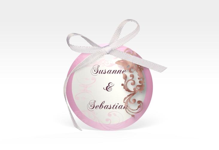 """Geschenkanhänger Hochzeit """"Toulouse"""" Geschenkanhänger, rund rosa"""
