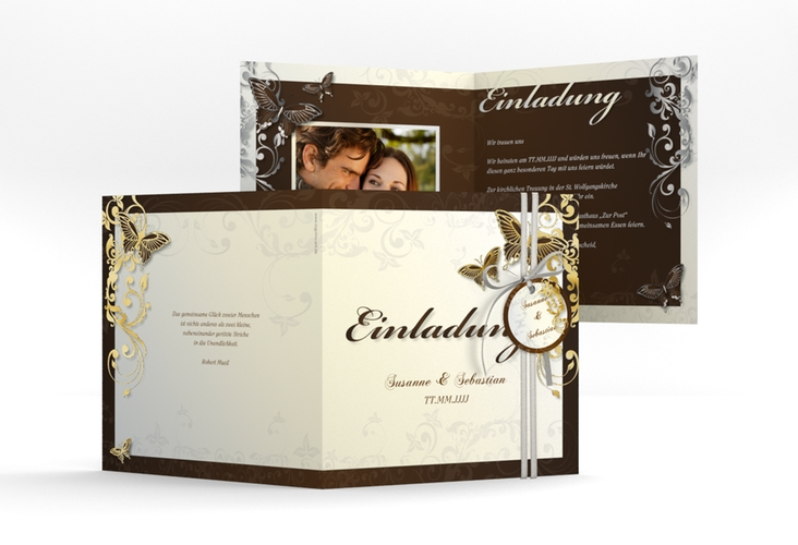 """Hochzeitseinladung """"Toulouse"""" Quadratische Klappkarte braun"""